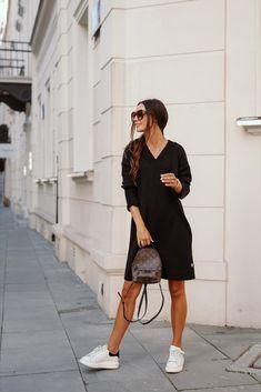 Rochie tricotata dreapta cu lungime medie neagra Style, Fashion, Tricot, Swag, Moda, Fashion Styles, Fasion