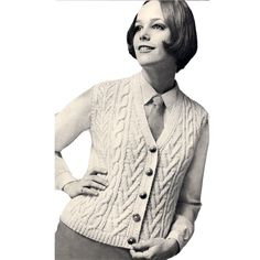 Irish Aran Vest Knitting Pattern, Size 10 to 18.  This is a lovely vest, Irish Aran styled with cables  and banding of all type - just like you would expect of an Aran design.  The vest has a 5 button closure.