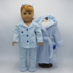 Blue Robe and Slippers with Flannel Pajamas 67f774bf2
