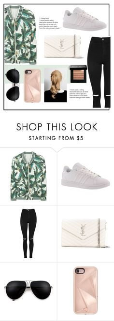 """""""Wonder where you are"""" by belleshines ❤ liked on Polyvore featuring MANGO, adidas, Topshop, Yves Saint Laurent, Rebecca Minkoff and Bobbi Brown Cosmetics"""