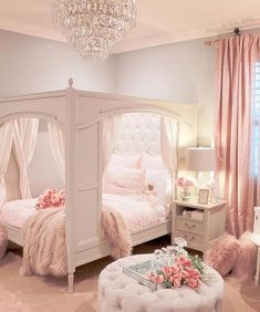 Our inner child just squealed with delight! Loving this magical room from Use for a chance to be featured next week! Our inner child just squealed with delight! Loving this magical room from Use for a chance to be featured next week! Cute Bedroom Ideas, Girl Bedroom Designs, Girls Pink Bedroom Ideas, 4 Year Old Girl Bedroom, Cool Teen Bedrooms, Bedroom Styles, Design Bedroom, Dream Rooms, Dream Bedroom