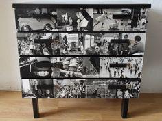 oud kastje gepimpt met mooie zwart-wit foto's