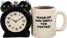 from Oldies.com Alarm Clock & Coffee Mug - Magnetized Ceramic Salt & Pepper Shakers