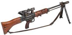 FG42 7.92mmMauser Paratrooper LMG w/ 20rd side-loading box-mag; integral folding-bipod/muzzle-compensator; & 2x mag scope.