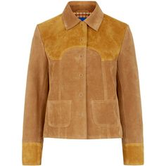 M.i.h Jeans Two-Tone Suede Estero Jacket (15.268.705 IDR) ❤ liked on Polyvore featuring outerwear, jackets, coats & jackets, suede jacket, brown cropped jacket, tan jacket, studded jacket, brown jacket and tan cropped jacket
