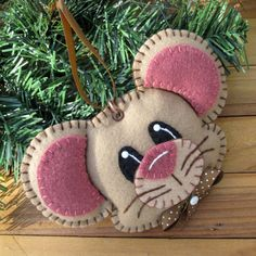 Wool Felt Mouse Ornament Hanger In Tan by FHGoldDesigns on Etsy