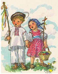 Postcard: M. Vintage Cards, Vintage Images, Illustrator, Christian Messages, Easter Activities, Gif Animé, Believe In God, Baby Art, Vintage Easter
