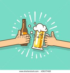 Beer festival. Two hands holding the beer bottle and beer glass. Vector…