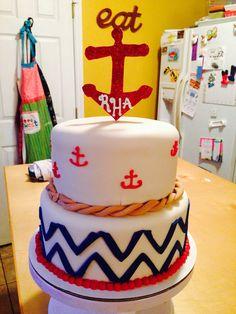 Anchors and chevron cake
