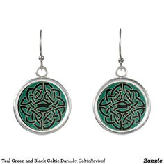 Teal Green and Black #Celtic Dara Knot #Earrings  #zazzle