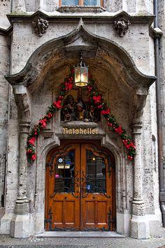 Front door to Rathaus restaurant, Munich Germany