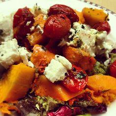 Day #167 - mountainous salad of sweet potato, feta and pesto roasted baby tomatoes