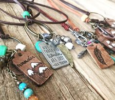 Handpainted leather necklaces - Ashley Hackshaw / Lil Blue Boo