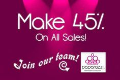 Make an AMAZING 45% IMMEDIATE CASH PROFIT off of every item you sell!!!        Melissa J. Rooker Paparazzi Independent Consultant Premier Director 740.304.9109 http://www.facebook.com/PaparazziwithMelissa10559 www.paparazziaccessories.com/10559