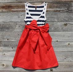 Blue & white stripes, red skirt w/ bow. YES. #women #style #fashion