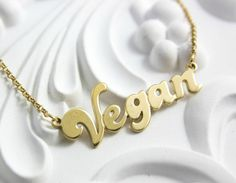 Name Necklace Gold Vegan Style Necklace Gold Necklace with Vegan Tag Real Gold Vegan necklace Necklace Name Gold Name Necklace, Monogram Necklace, Love Necklace, Personalized Necklace, Fashion Necklace, Vegan Fashion, Nameplate, Gold Style, Gold Pendant