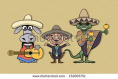 Donkey, Chihuahua and Iguana musicians in mexican national clothing - stock vector