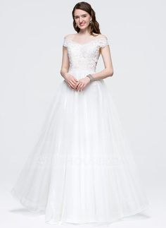 A-Line/Princess Off-the-Shoulder Floor-Length Bow(s) Zipper Up Strapless Sleeveless No Ivory Spring Summer Fall General Plus Tulle Prom Dress