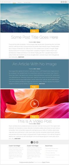 Serene WordPress Theme – Free Blogging WP Theme No Image, Website Designs, Free Blog, Wordpress Theme, Serenity, Blogging, Magazine, Magazines, Site Design