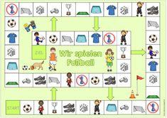 """Spielfeld """"Wir spielen Fußball"""" Gewünscht war ein Spielfeld zum Thema """"Fußball"""" für DaZ. Ich habe mich bildmäßig an den bereits vorhand..."""