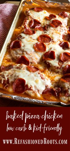 Easy, kid-pleasing, low-carb, mid-week slump busting favorite! Thinly pounded chicken breast is topped and baked with pizza fixins. Low Sugar Recipes, Healthy Low Carb Recipes, Low Carb Dinner Recipes, Sugar Foods, Diet Recipes, Dessert Recipes, Sugar Diet, Pizza Recipes, Lunch Recipes