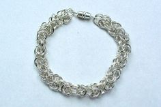 Byzantine Chain Bracelet - Early piece made with rings from Michael's Chainmaille, Byzantine, Beaded Jewelry, Beads, Bracelets, Rings, Silver, Beading, Bangles
