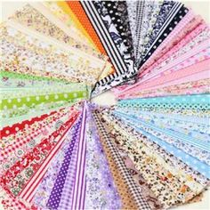 Bright Colours 100/% COTTON Quilting Fabric 30 PATCHWORK Pieces CHARM PACK