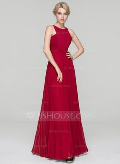 A-Line/Princess Scoop Neck Floor-Length Chiffon Evening Dress With Split Front Pleated (017093491)