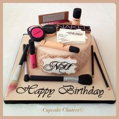 Cake Wrecks Sunday Sweets for Makeup Lovers! Pretty Cakes, Cute Cakes, Beautiful Cakes, Amazing Cakes, Makeup Birthday Cakes, Birthday Cupcakes, 21st Birthday, 18th Birthday Cake For Girls, Birthday Ideas