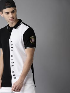 Buy Moda Rapido Men Black & White Colourblocked Polo Collar T Shirt - Tshirts for Men from Moda Rapido at Rs. Polo Sweater Mens, Mens Polo T Shirts, Boys T Shirts, Polo T Shirt Design, Polo Design, Polo Shirt Outfits, Polo Outfit, Outfit Jeans, Camisa Polo