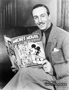 Walt Disney reading his Mickey Mouse Magazine Old Disney, Disney Love, Disney Magic, Disney Mickey, Walt Disney World, Disney Pixar, Disney Stuff, Jim Henson, Disneyland Vintage