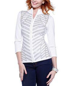 Love this White Embellished Chevron Zip-Up Sweater on #zulily! #zulilyfinds