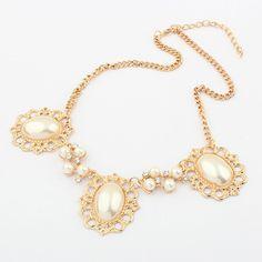 Korean Style Elegant Rose Gold Water Droplets Pearl Bib Necklace Ladies[US$7.68]shop at www.favorwe.com