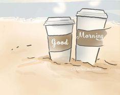 Items similar to art café - good morning coffee art print on the beach - digital art print - sticker - print on etsy - Art cafe coffee art print early morning on the beach digital -