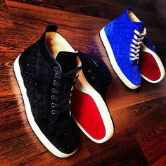 blue christian louboutin sneakers