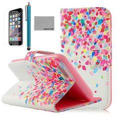 el modelo de puntos colorido de la PU cuero caso de cuerpo completo de coco Fun® para el iphone 6 6 g 4.7 con protecter pantalla, soporte y lápiz – EUR € 8.63