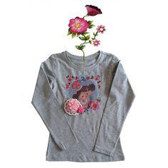 T-shirtje grijs lange mouw en grappige eigenwijze print.110/116