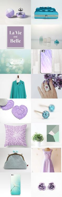 Teal and Lilac by Anat Dahari on Etsy--Pinned with TreasuryPin.com