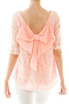 Peach Lace Detail Bow Back Top – Pink Slip Boutique