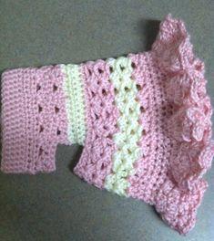 Ravelry: Littlest Bo Peep Crochet Dog Sweater pattern by Cobos Closet by cheyennesioux Crochet Dog Clothes, Crochet Dog Sweater, Dog Sweater Pattern, Dog Pattern, Dog Crochet, Sweater Patterns, Crochet Granny, Knitting Patterns, Crochet Flowers
