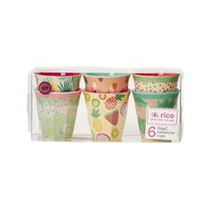 6 Small Two Tone Melamine Cups with Assorted 'Today is Fun' Prints