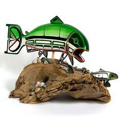 Lattimer Gallery - Steve Smith and Harris Smith - Basswood Sculpture on Driftwood Tlingit, Fish Sculpture, Native Design, Artist Biography, Native American Artists, Fish Art, Native Art, First Nations, Nativity