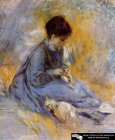 Young Woman with a Dog  Pierre Auguste Renoir