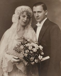 +~+~ Antique Photograph ~+~+   What a beautiful couple, I love the expression of serene happiness on her face.  Budapest 1930.