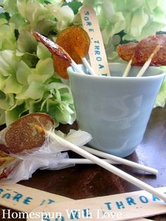 Natural Remedies: Kids Honey Lemon Sore Throat Lollipops.  How-to shared at Homespun With Love