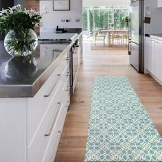 Our Floral Tiles Aqua Blue & White rugs feature a vintage-inspired pattern of floral curlicues across a light blue-green background. This pattern is available in three sizes: 3' x 5' Accent Rug, 2.5' x 7' Runner Rug, and 5' x 7' Area Rug.  Contains 1 rug cover and 1 rug pad.   #Rugs