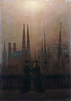Caspar David Friedrich - Sisters on the Harbour-View Terrace (Harbor by Night)Oil on canvas, circa The Romantic Vision of Caspar David Friedrich Caspar David Friedrich, Casper David, Dresden, Music Of The Night, Painting Gallery, City Art, Figurative Art, Dark Art, Lovers Art