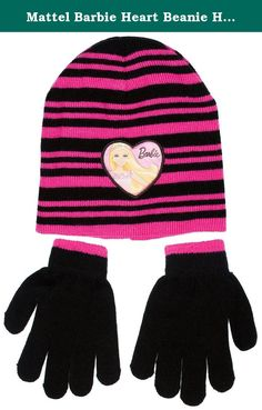 Mattel Barbie Heart Beanie Hat and Gloves Set, Black. Official licensed product by ABG Accessories.