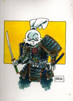 Miyamoto Usagi in samurai gear Comic Book Artists, Comic Book Characters, Comic Book Heroes, Comic Books Art, Comic Art, Akira, Samurai Drawing, Usagi Yojimbo, Japanese Warrior