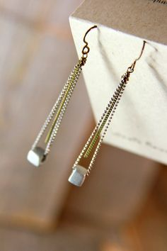 MODERN CHAIN. Simple fabulous. Chain and cube earrings. by bootsravendesigns